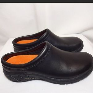 Merrell women's black slip on clogs in size 10.